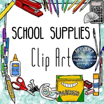 School Supplies Clipart - Back to School - 60 Clip Art Images
