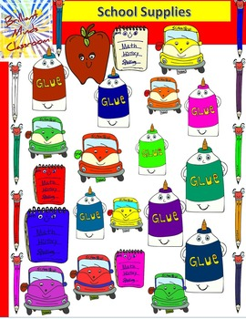 School Supplies Clipart: Pencil, Glue, Apple, Ruler and No