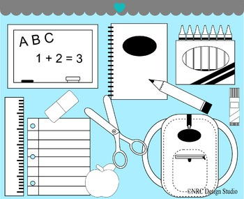 School Supplies Digital Stamp Clip Art for Personal and Co