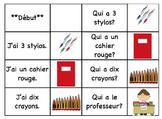 "School Supplies -  ""J'ai, qui a"" French Race Cards (FSL) O"