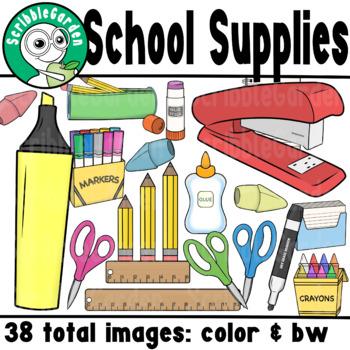 School Supplies Line Art