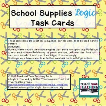 School Supplies Logic Task Cards
