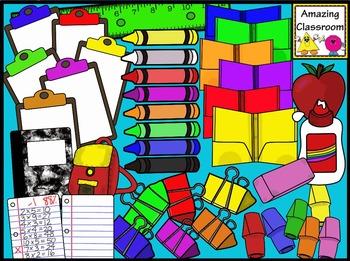 School Supplies MEGA Clip Art Pack - 136 Images!