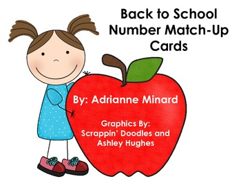 Number Match-Up Cards with School Supplies: Great for Back