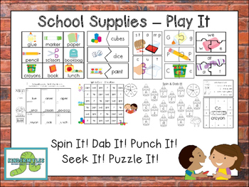 School Supplies -  Play It! {ELA Centers}