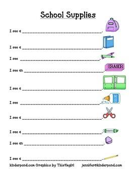 School Supplies Pocket Chart