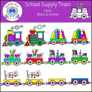 School Supplies Train Clip Art