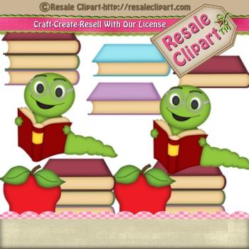 School Supplies Worm reading books