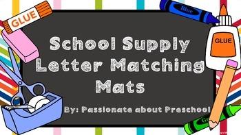 School Supply Letter Matching Mats