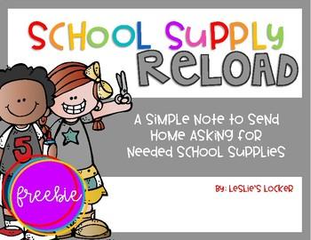 School Supply Reload FREEBIE