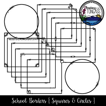 School Supply Square and Circle Borders Clipart Bundle