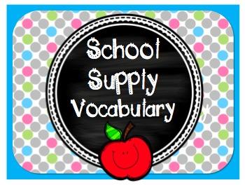 School Supply Vocabulary PowerPoint