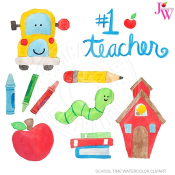 School Time Watercolor Digital Clipart, Cute Hand Painted