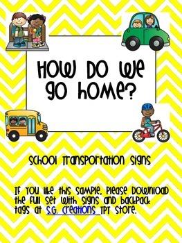 School Transportation Signs-Yellow Chevron