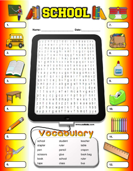 School Vocabulary Identify and Word Search
