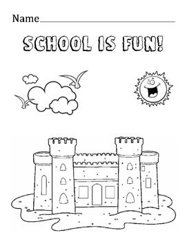 School is fun Coloring Fine Motor Skills Worksheet Printable