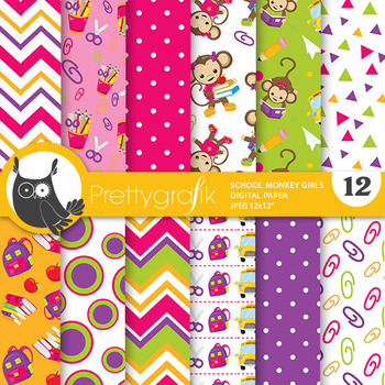 School monkey papers, commercial use, scrapbook papers - PS813