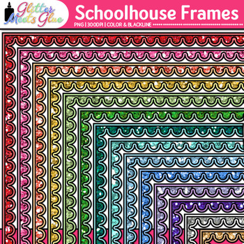 Schoolhouse Page Borders Clip Art - Back to School Borders