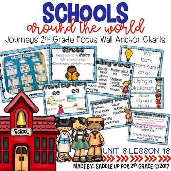 Schools Around the World Focus Wall Anchor Charts and Word