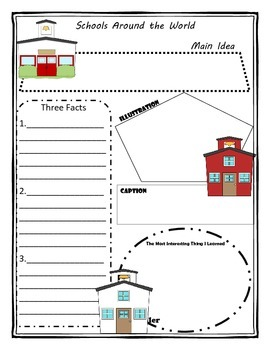 Schools Around the World Story Map Graphic Organizer