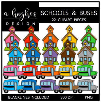 Schools & Buses {Graphics for Commercial Use}