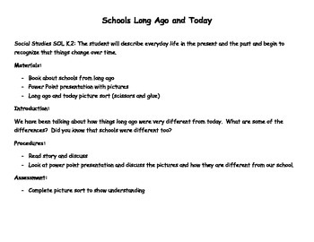 Schools Long Ago and Today Picture Sort and Lesson Plan