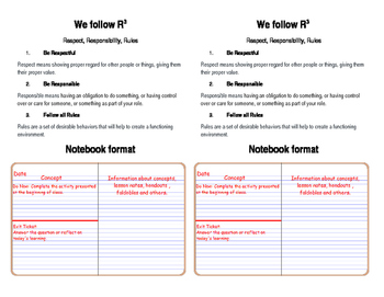 Science 6 Notebook Set-Up