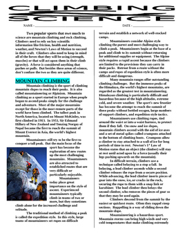 Sports & Science Article - Rock Climbing