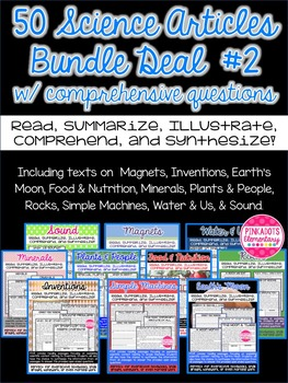 Science Articles: 10 Pack Bundle #2 Deal!  Paired Text Com