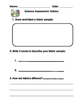 Science Assessment: Fabrics for Kindergarten