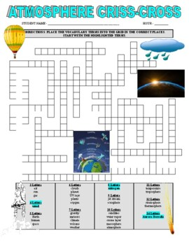 Science Atmosphere Vocabulary Puzzle
