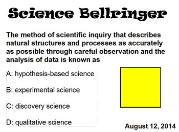 Science Bell Ringers (August)