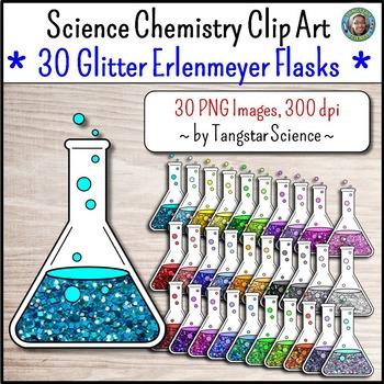 Science Chemistry Clip Art - 30 Glitter Erlenmeyer Flasks