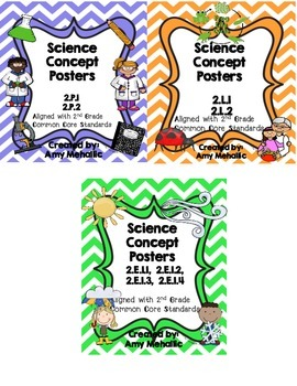 2nd Grade Science Concept Posters Bundle 2.P.1 2.P.2 2.L.1