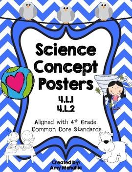 4th Grade Science Concept Posters 4.L.1 4.L.2 Adaptation R
