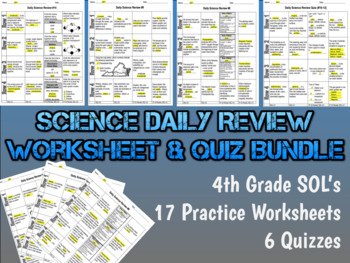 Science Daily Review Worksheet Bundle - 4th Grade SOL's -