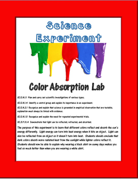 Science Experiment- Color Absorption with an Infrared Thermometer