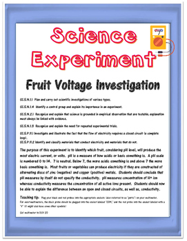 Science Experiment- Fruit Electricity and the Scientific Method