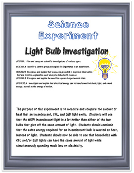 Science Experiment- Light Bulb Efficiency and the Scientif