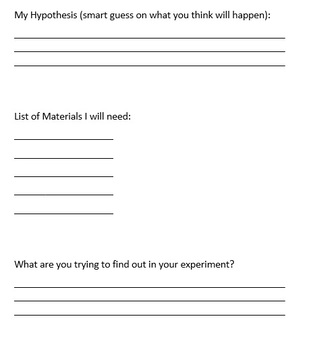 Science Experiment Template for Activities: Grades 2 - 6