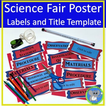 Science Fair Poster Labels  and Editable Title Template