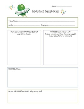 Science Fiction Book Report Form