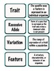 Science Genetics Vocabulary Cards - Centers, Games, Small Group