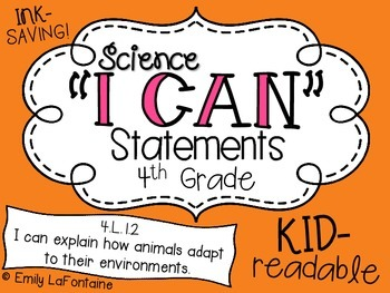 Science I Can Statements (Fourth Grade, North Carolina Ess