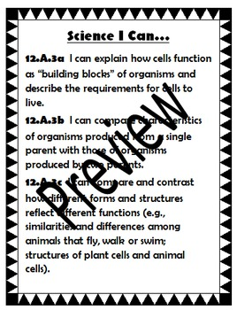 Science I Can Statements for Common Core State Standards G