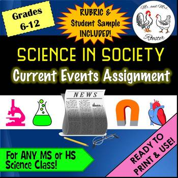 Science In Society {Current Events} Handout, Rubric, and Example