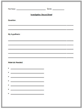 Science Investigation Record Sheet
