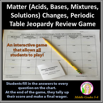 Science Jeopardy 2 Matter, Changes, Periodic Table