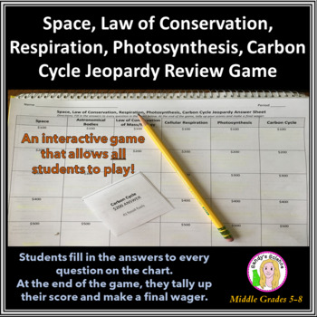 Science Jeopardy 3 Space, Respiration, Photosynthesis, Car