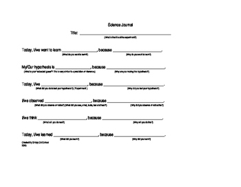 Science Journal Sentence Frames